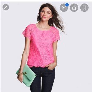 Jcrew raindrop lace top pink